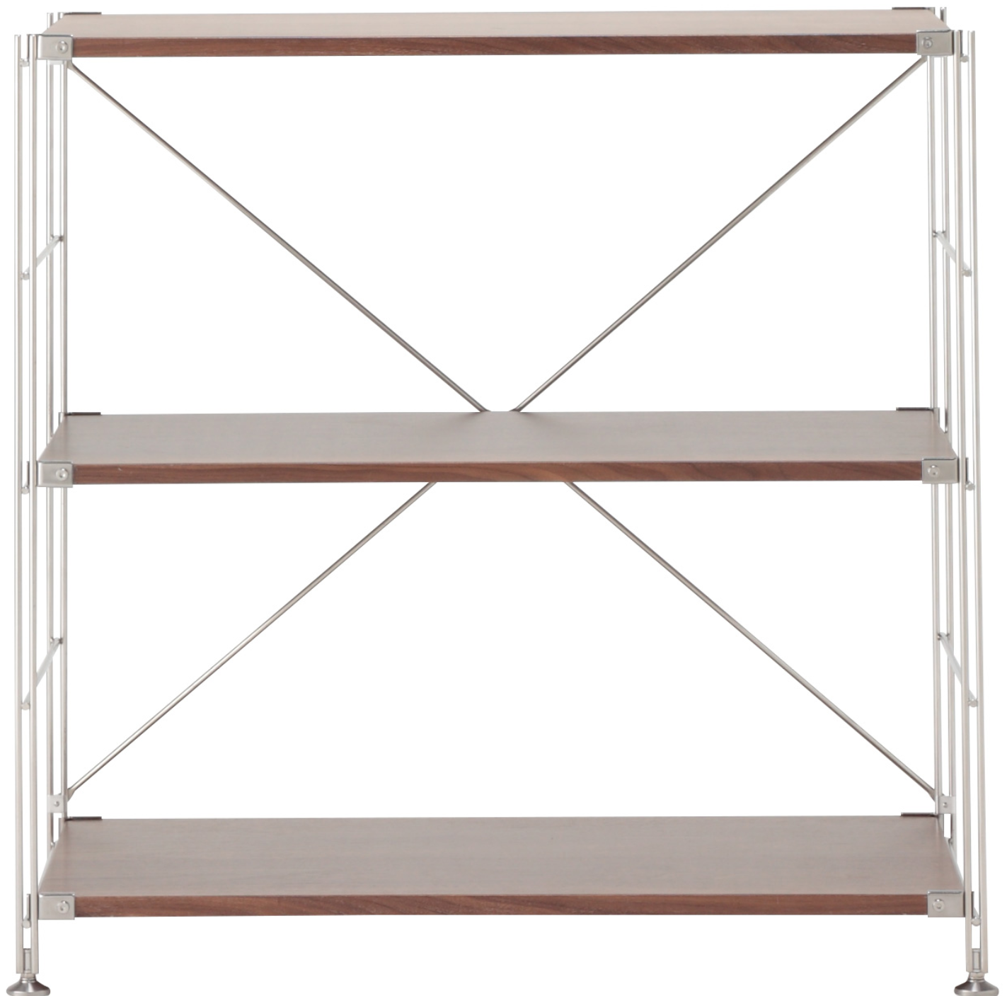 MUJI(無印良品)ステンレスユニットシェルフ・ウォールナット材棚セット・ワイド・小