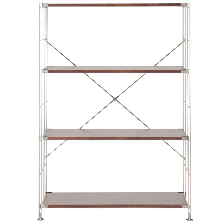 MUJI(無印良品)ステンレスユニットシェルフ・ウォールナット材棚セット・ワイド・中