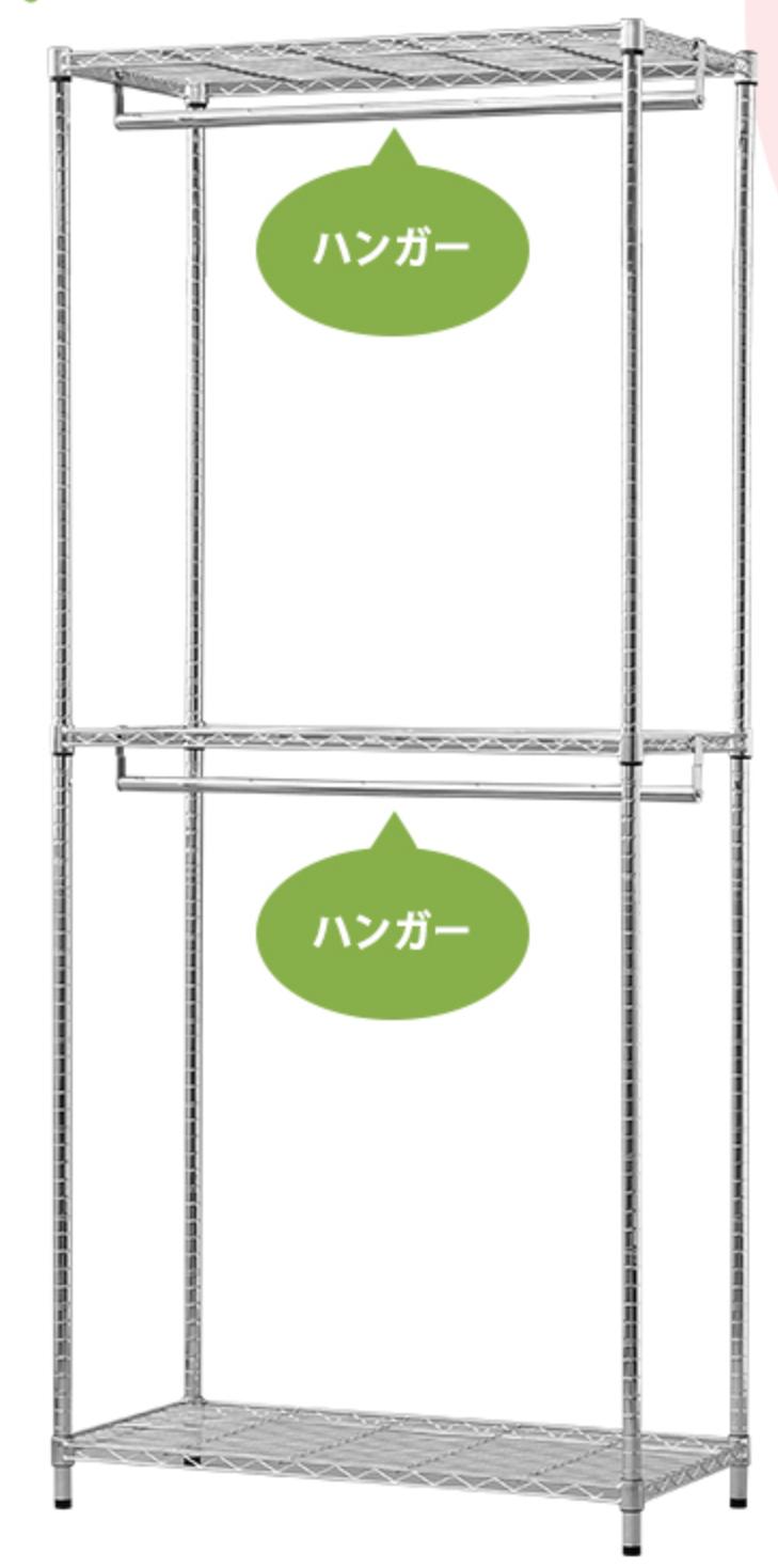 アイリスオーヤマ メタルラックワードローブ 2段セット