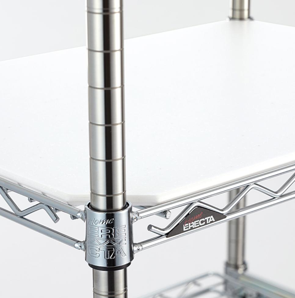 ERECTA エレクタ ホームエレクター キッチンラック クローム スライディングシェルフ 人造大理石キッチンボード付き